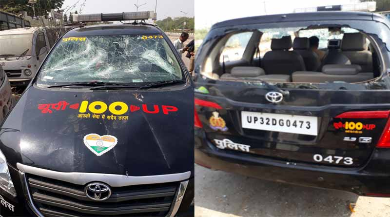 DIAL 100 CAR BROKEN BY PEOPLES LUCKNOW