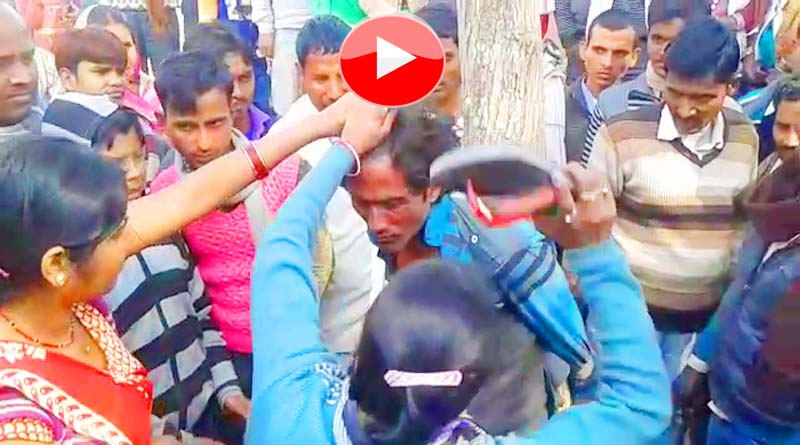 Thief beaten by peoples with slipper in bahraich