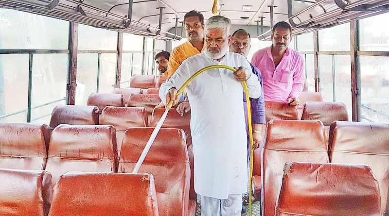 swatantra dev singh cleaning bus